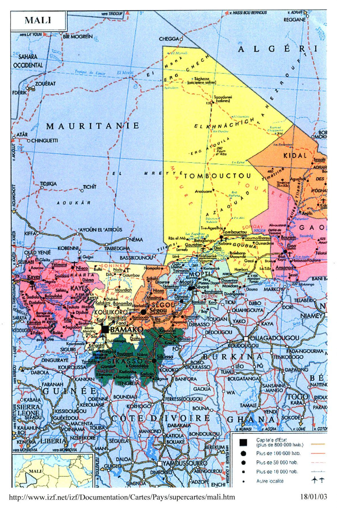 Localisation du Mali
